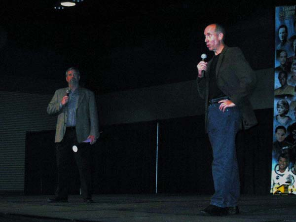 Jim Nestor and Bob Conrad introducing the movie at Grand Slam